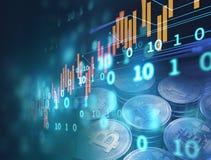 3d rendering Bitcoin na pieniężnym wykresu tle Fotografia Royalty Free