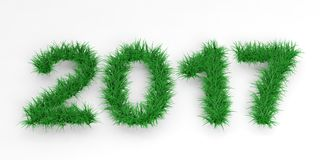 3d rendering 2017 on black background. 3d rendering 2017 in grass on black background Stock Image