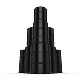 3D rendering black barrels. Not contain any inscriptions Royalty Free Stock Photo