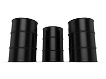 3D rendering black barrels. Not contain any inscriptions Royalty Free Stock Image