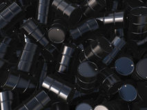 3D rendering black barrels. Not contain any inscriptions stock illustration