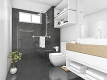 3d rendering black bathroom with shower and toilet Stock Photography