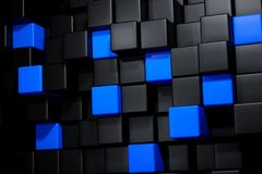 3D Rendering Of A Black And Blue Cubes. Background Stock Image