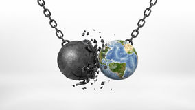 3d rendering of a black broken wrecking ball hitting an Earth globe on a black chain on white background. Business and environment. Regulations against Stock Photos