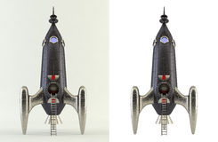 3D rendering of a black comic style rocket Royalty Free Stock Images