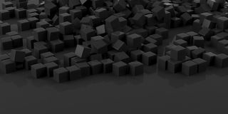 3d rendering black cubes and background. 3d rendering black cubes on black background Royalty Free Stock Photo