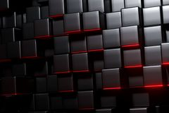 3D Rendering Of A Black Cubes With Red Blooming. Light Background vector illustration
