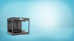 3d rendering of a black 3d-printer with a small screen and an empty printing bed on blue background. Royalty Free Stock Image