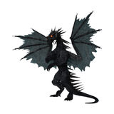 3D Rendering Black Dragon on White Stock Image