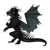 3D Rendering Black Dragon on White Royalty Free Stock Images