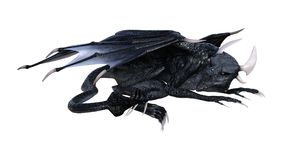 3D Rendering Fantasy Dragon on White Royalty Free Stock Photo