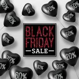3D Rendering Black Friday Sale Balloon Hearts. Concept of Discount Royalty Free Stock Image