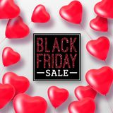 3D Rendering Black Friday Sale Balloon Hearts. Concept of Discount Royalty Free Stock Photo