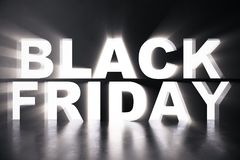 3D Rendering Black Friday sale inscription design template. Black Friday banner. Text in the wall.  Royalty Free Stock Photography