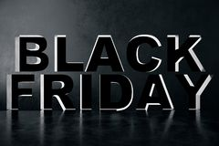3D Rendering Black Friday sale inscription design template. Black Friday banner. Text in the wall.  Stock Image