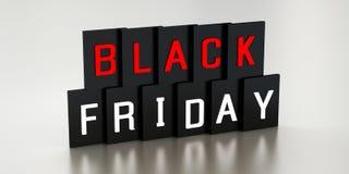 3D Rendering. Black Friday sale inscription design template. 3D illustration royalty free stock photo