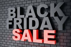 3D Rendering Black Friday, sale message for shop. Business hopping store banner for Black Friday. Black Friday sale. Inscription design template. Banner for Royalty Free Stock Image