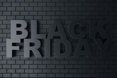 3D Rendering Black Friday, sale message for shop. Business hopping store banner for Black Friday. Black Friday sale. Inscription design template. Banner for Royalty Free Stock Photo