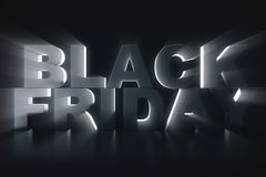 3D Rendering Black Friday, sale message for shop. Business hopping store banner for Black Friday. Black Friday sale. Inscription design template. Banner for Royalty Free Stock Images