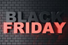3D Rendering Black Friday, sale message for shop. Business hopping store banner for Black Friday. Black Friday sale. Inscription design template. Banner for Stock Photography