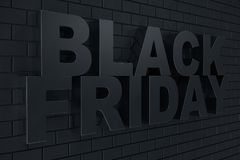 3D Rendering Black Friday, sale message for shop. Business hopping store banner for Black Friday. Black Friday sale. Inscription design template. Banner for Royalty Free Stock Photos