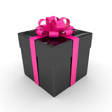 3d rendering of black gift box with pink ribbon  over wh. Ite background Royalty Free Stock Photos