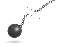 3d rendering of a black iron ball swinging and falling from a broken chain. Freedom from obligations. Unrestricted future. Broken chains vector illustration