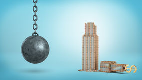 3d rendering of a black iron wrecking ball hanging beside a broken office building with a USD sign on its top. Royalty Free Stock Photos