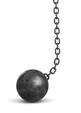 3d rendering of a black iron wrecking ball lying on the floor still attached to a chain. Danger and problems. Financial burden. Crisis at work Stock Photography