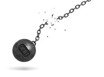 3d rendering of a black iron wrecking ball with a writing DEBT on it swings on a broken chain. Settling all debts. Restructuring. Accounting help Royalty Free Stock Images