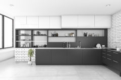 3d rendering black kitchen with brick wall. 3d rendering interior design by 3ds max Royalty Free Stock Images