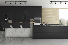 3d rendering black kitchen and minimal decoration. 3d rendering interior design by 3ds max Royalty Free Stock Images