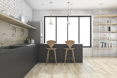 3d rendering black kitchen with shelf and decor Royalty Free Stock Photo