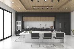3d rendering black kitchen with wood ceiling. 3d rendering interior design by 3ds max Royalty Free Stock Photo