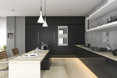 3d rendering black kitchen with wood floor and light Stock Images