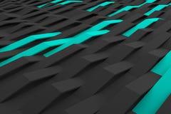3D rendering of black matte plastic waves with colored elements. Abstract 3D rendering of black matte plastic waves with colored elements. Bended stripes Vector Illustration