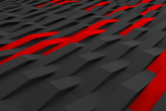 3D rendering of black matte plastic waves with colored elements. Abstract 3D rendering of black matte plastic waves with colored elements. Bended stripes royalty free illustration