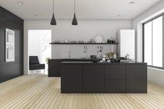 3d rendering black minimal kitchen near living room Stock Photography