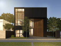 3d rendering black minimal wood and black house. 3d rendering interior design by 3ds max Stock Image