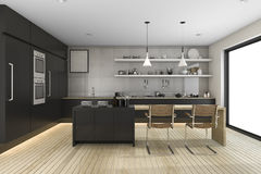 3d rendering black modern kitchen with dining zone. 3d rendering interior design by 3ds max Stock Image