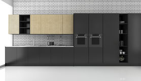 3d rendering black modern loft kitchen with brick wall. 3d rendering interior design by 3ds max Royalty Free Stock Images