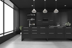 3d rendering black modern luxury kitchen. 3d rendering interior design by 3ds max Royalty Free Stock Photography