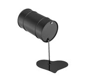 3d rendering of a black oil barrel leaking oil and making a heart shape isolated on white background. Oil and gas industry. Money down the drain. Counting Royalty Free Stock Images