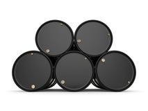 3D rendering Black oil barrels. 3D rendering Black metal oil barrels on white background Stock Image