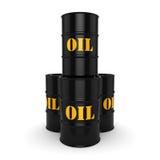3D rendering Black oil barrels. 3D rendering Black metal oil barrels on white background Stock Photos