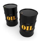 3D rendering Black oil barrels Stock Image