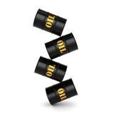 3D rendering Black oil barrels Stock Photos