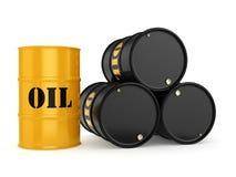 3D rendering Black oil barrels Royalty Free Stock Photos