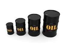 3D rendering Black oil barrels Royalty Free Stock Image