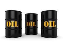 3D rendering Black oil barrels. 3D rendering Black metal oil barrels on white background Royalty Free Stock Photos